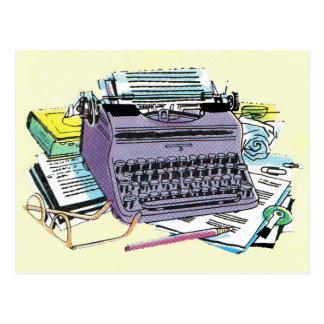 ヴィンテージの作家の用具のタイプライター紙の鉛筆 ポストカード