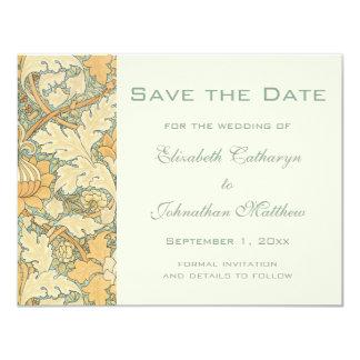 ヴィンテージの保存日付のウィリアム・モリスの花柄の花 カード