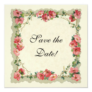 ヴィンテージの保存日付、ピンクの花の花柄のバラ カード