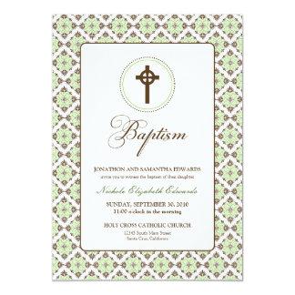 ヴィンテージの優美の洗礼5x7の招待状(茶色か賢人) カード