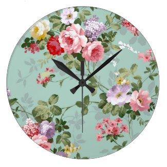 ヴィンテージの優雅なピンクの赤いバラパターン 壁時計