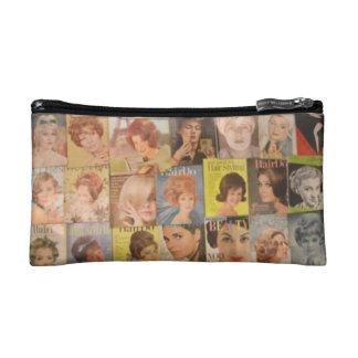 ヴィンテージの六十年代の美しいのコラージュの化粧品のバッグ コスメティックバッグ