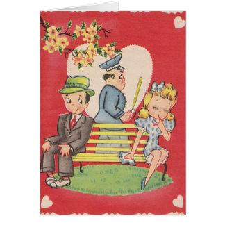 ヴィンテージの内気な男の子のバレンタインデーのメッセージカード カード