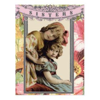 ヴィンテージの写真の姉妹の郵便はがき ポストカード