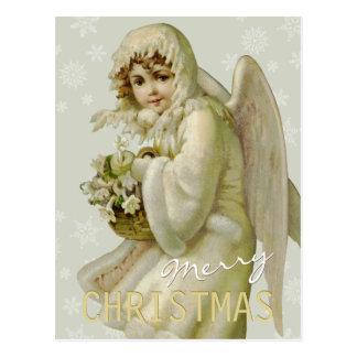 ヴィンテージの冬の天使CC0621のクリスマスの郵便はがき ポストカード