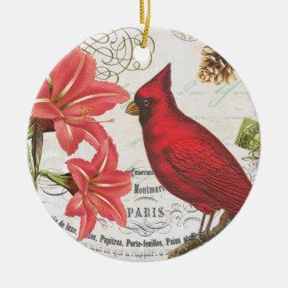 ヴィンテージの冬の(鳥)ショウジョウコウカンチョウ セラミックオーナメント