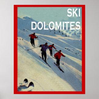 ヴィンテージの冬季スポーツのスキーイタリアのドロマイト ポスター