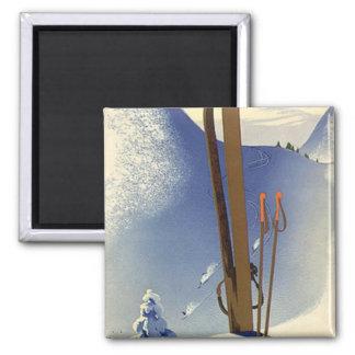 ヴィンテージの冬季スポーツ-スキーおよび斜面 マグネット