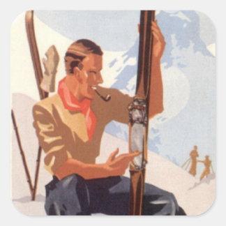 ヴィンテージの冬季スポーツ-スキーを調節すること スクエアシール