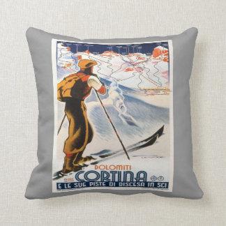 ヴィンテージの冬季スポーツ、スキーイタリア、Cortina d'Ampezzo クッション