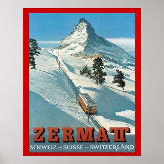 ヴィンテージの冬季スポーツ、スキースイス連邦共和国、Zermatt ポスター