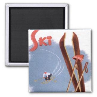 ヴィンテージの冬季スポーツ-スキー物 マグネット