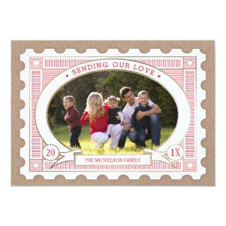 ヴィンテージの切手のバレンタインの写真カード 12.7 X 17.8 インビテーションカード