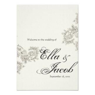 ヴィンテージの刺激を受けたな結婚式プログラム カード
