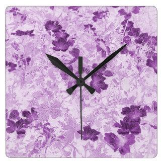ヴィンテージの刺激を受けたな花の藤色 スクエア壁時計