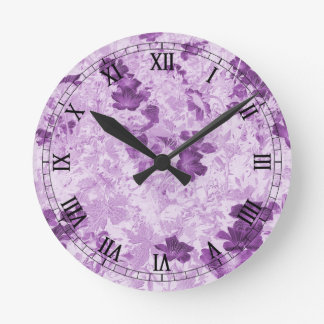 ヴィンテージの刺激を受けたな花の藤色 ラウンド壁時計