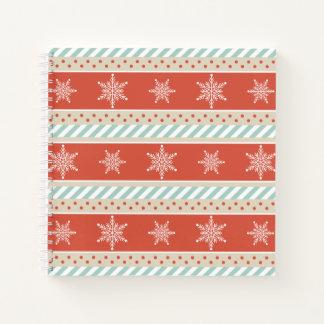 ヴィンテージの刺激を受けたな赤のストライプの雪片パターン ノートブック