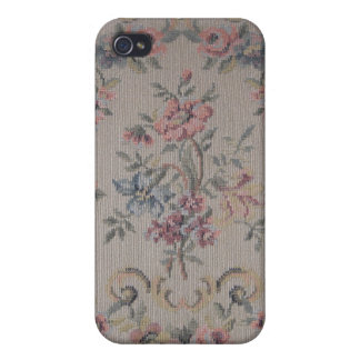 ヴィンテージの刺繍の針先のばら色の生地 iPhone 4 CASE