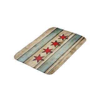 ヴィンテージの動揺してなシカゴの旗によって切り分けられる木製の一見 バスマット