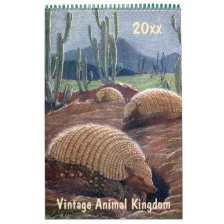 ヴィンテージの動物界、ジャングルの砂漠の森林 カレンダー