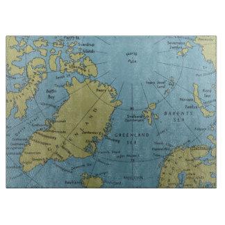 ヴィンテージの北極の地図のまな板 カッティングボード