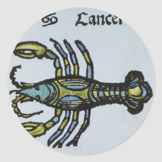 ヴィンテージの十二宮、蟹座カニ 丸形シールステッカー