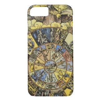 ヴィンテージの占星術、Renaisanceの(占星術の)十二宮図の車輪1555年 iPhone 7ケース