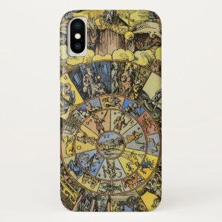 ヴィンテージの占星術、Renaisanceの(占星術の)十二宮図の車輪1555年 iPhone X ケース