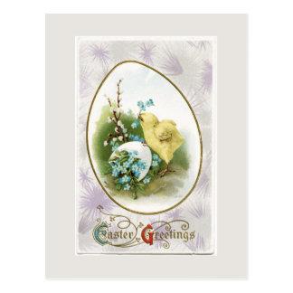 ヴィンテージの卵のイースター小さいひよこおよび郵便はがき ポストカード