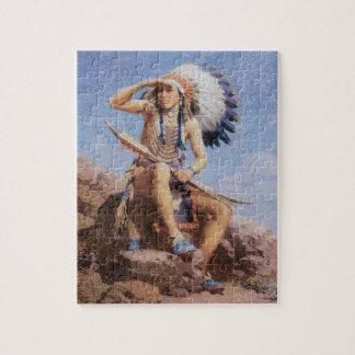 ヴィンテージの原産のアメリカインディアン、リー著偵察者 ジグソーパズル