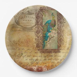 ヴィンテージの原稿の茶色のターコイズの孔雀のプレート ペーパープレート