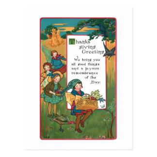 ヴィンテージの収穫の子供および感謝祭の詩 ポストカード
