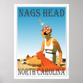 ヴィンテージの口うるさい人のヘッドノースカロライナのビーチ ポスター