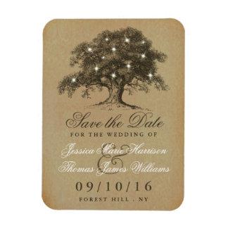 ヴィンテージの古いオークの木の結婚式の保存日付 長方形マグネット