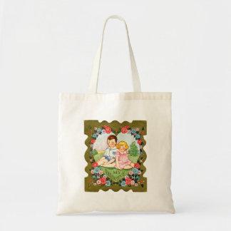 ヴィンテージの古いバレンタインの小さな女の子および小さい男の子 トートバッグ