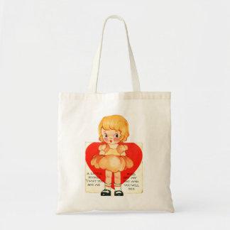 ヴィンテージの古いバレンタインの小さな女の子Twixtあなたおよび私 トートバッグ