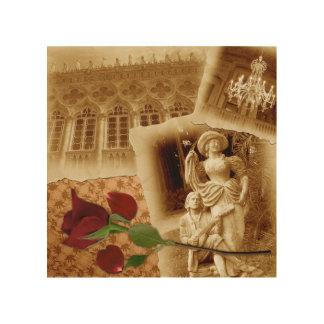 ヴィンテージの古い写真のバラの花びらのShabbychic木 ウッドウォールアート