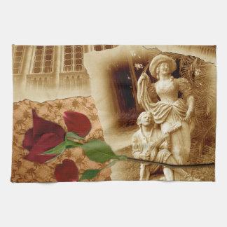 ヴィンテージの古い写真のバラの花びらぼろぼろのシックなタオル キッチンタオル