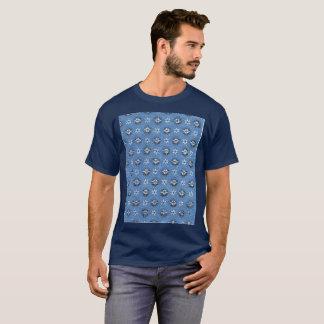 ヴィンテージの古い学校のTシャツパターン青の花 Tシャツ