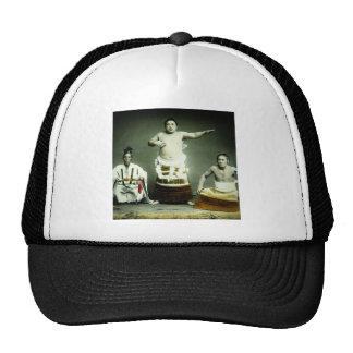 ヴィンテージの古い日本日本のな相撲のレスリング選手 メッシュ帽子