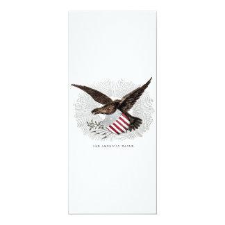 ヴィンテージの古い19世紀のアメリカのワシの鳥のイラストレーション カード