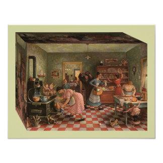 ヴィンテージの台所場面~の家族会の招待状 10.8 X 14 インビテーションカード