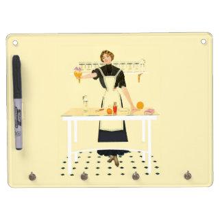 ヴィンテージの台所女の子のホワイトボード キーホルダーフック付きホワイトボード