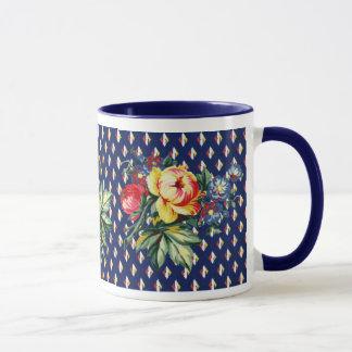 ヴィンテージの台所-キルト-花の織物のマグ マグカップ