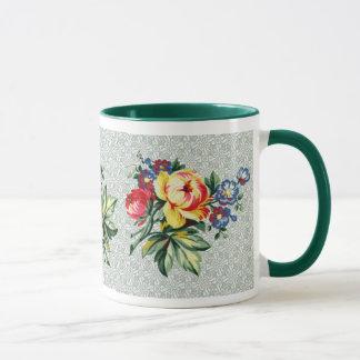 ヴィンテージの台所-花花束のマグ マグカップ