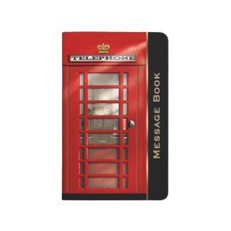 ヴィンテージの名前入りなイギリスの赤い電話ボックス ポケットジャーナル