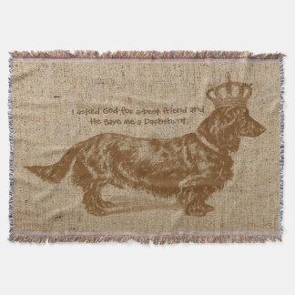 ヴィンテージの名前入りな長い髪のダックスフント犬 スローブランケット