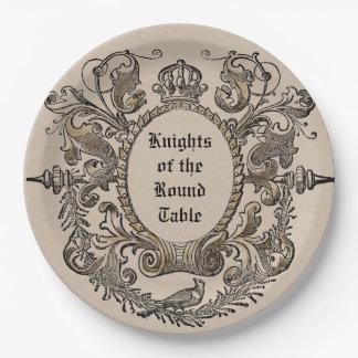 ヴィンテージの名前入りな馬上槍試合の騎士紙皿 ペーパープレート