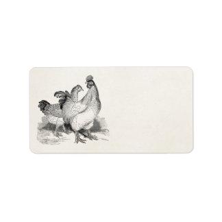 ヴィンテージの名前入りな鶏のオンドリのコシャンの鳥 宛名ラベル