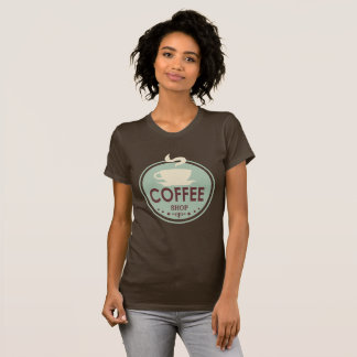 ヴィンテージの喫茶店の単語の芸術のTシャツ Tシャツ